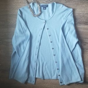 Ann Taylor Baby Blue 100% TwoPly Cashmere Cardigan